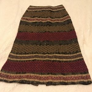 Anthro/Nanette Lepore brown embroidered skirt